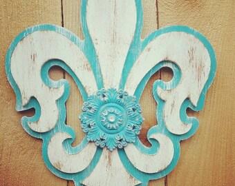 Large Hand Painted Fleur de Lis Home Decor with Embellishment - Handmade Home Decor - Fleur de Lis - Hand Painted Home Decor