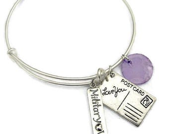 MILITARY WIFE or Military MOM Bangle,Adjustable Wire Bangle,Sterling Silver charm Bracelet,Natural Shell Dangle