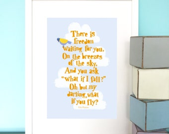 There is freedom waiting Print, Erin Hanson Print, Bird print, Positive words, Nursery art, Children's print, New baby gift.