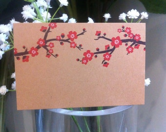 "Brown Kraft Cards ""Cherry Blossom"" Pack of 10, Gift Tag, Name Tag, DIY Wedding, Embellishment, Scrapbooking,Party Supplies,florist supplies"