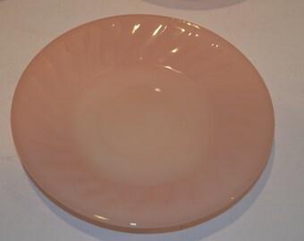 "Vintage Fire-King Pink Swirl Plate - 9 1/4"""