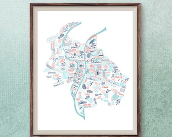 Lyon map travel art French city poster Lyon wall print France illustration travel poster city print modern wall art hip cafe decor