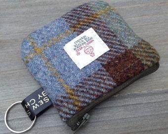 Harris tweed coin purse in MacLeod Tweed, with keyring loop