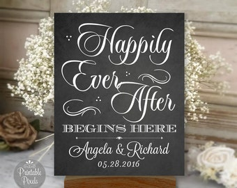 Happily Ever After Begins Here Printable, Chalkboard Style, Wedding Sign, Engagement, Shower, Personalized with Names and Date (#HAP1C)