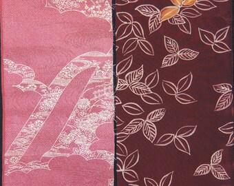 Vintage kimono silk fabric-2 pcs #7428