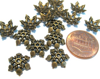 30pcs Antique Bronze Flower Bead Caps 12mm