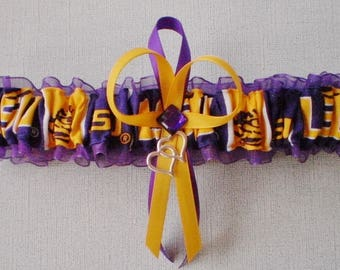 Louisiana State University Fabric Wedding Bridal Garter Toss Purple Prom Double Heart Charm