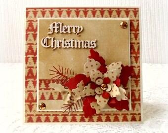 Christmas card handmade , Merry Christmas card , poinsettia card , 3D Christmas card , classic Christmas card , folded card , blank card