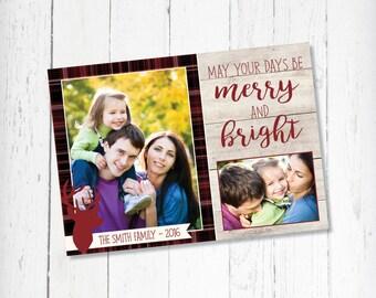 Country Christmas Card / Plaid & Wood Christmas Card / Reindeer Christmas Card