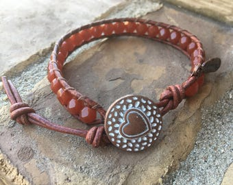 Wrap Bracelet, Beaded Wrap Bracelet, Burnt Orange Wrap Bracelet, Leather Wrap Bracelet, Single Wrap Bracelet