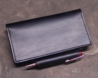 Calibre Checkbook Cover with Integrated Pen Holder in Black Horween Chromexcel