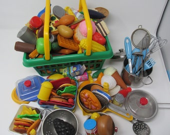 Toy Food and Dishes - 200 plastic play pieces are included