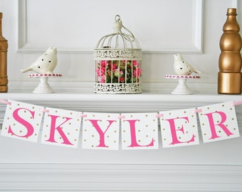 Polka Dot Glitter Name Baby Shower Banner Its a Girl Personalized Baby Shower Decoration & First Birthday