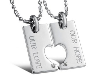 Our Hope, Our Love - Couples Necklaces / Personalized Gifts for Him / Girlfriend and Boyfriend Necklaces / Matching Jewelry for Couples