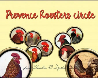 provence Roosters circle clipart  INSTANT DOWNLOAD pendants printable round images for jewelry