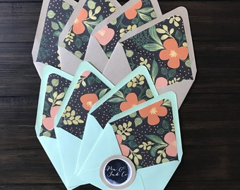 Rifle Paper Co Midnight Floral Print Notecards with Coral Envelopes - Set of 8 - Handmade