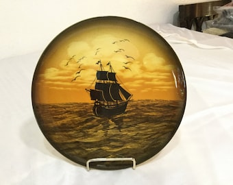 Vintage Made in Germany Clipper Ship at Sunset PLATE Sunset