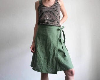 SALE. Green linen wrap skirt