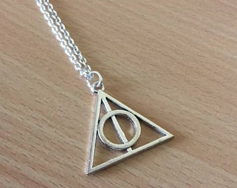 Deathly Hallows Charm Necklace  Deathly Hallows Symbol Necklace Everyday Jewelry