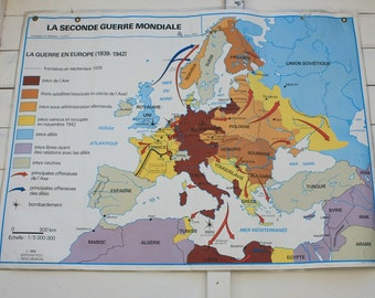 Large Vintage French School Map/Poster - Depicting WW2 History