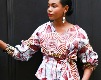 African Print Top - The Maui Wrap Blouse