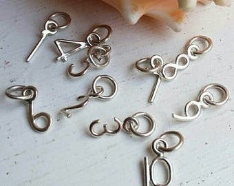 Sterling Silver Number Charm Handmade
