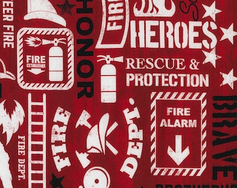 Firefighter Words Fabric Fat Quarter, Third Yard, Half Yard, or By The Yard; C5502; Timeless Treasures; Fire truck; Rescue