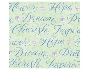 Pretty Words - Lt Sage 1014-61 by Henry Glass Cotton Fabric Yardage