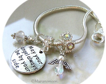 Guardian Angel Charm Bracelet, May Your Angel Always Be By Your Side, Crystal Angel Silver European Charm Bracelet Angel Bracelet #CBR1037