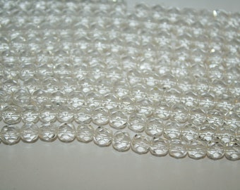 Clear Glass Beads, Transparent beads, Clear beads, Faceted Round Beads, - 5mm - 50ct - D137