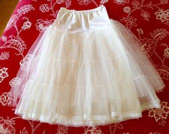 "1980's White Petticoat Crinoline- small, lace hem, 29"" long, Rockabilly, Wedding, Formal, full"
