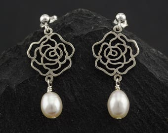White rose of Scotland dainty earrings, freshwater pearl, sterling silver. Summer Wedding. Gift for girlfriend. Game of thrones Tyrell rose