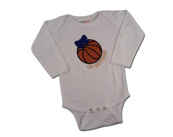 Baby Girl's Basketball Bodysuit with Embroidered Glitter Bow and Name