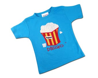 Boy Turquoise Popcorn Shirt with Embroidered Name