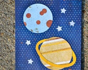outer space nursery, space theme nursery, science art, space room decor, gift for science teacher, classroom art, original artwork
