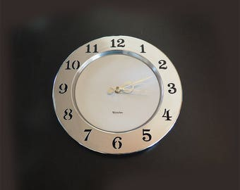 Retro Industrial Westclox Wall Clock | Chrome and Brushed Steel with Cutout Numbers | Battery Powered Quartz Movement