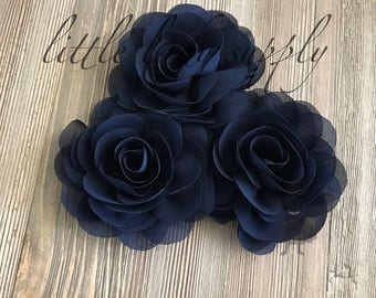 WHOLESALE 10 Navy Rose Blossoms headband flowers bulk fabric flowers bulk  wholesale, headbands, hair clips