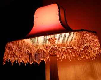 Vintage French Art Deco Silk Lampshade. Vintage French Boudoir Lighting. Rare. French Glass Beaded Fringe Lamp. Home Decor. French Decor.
