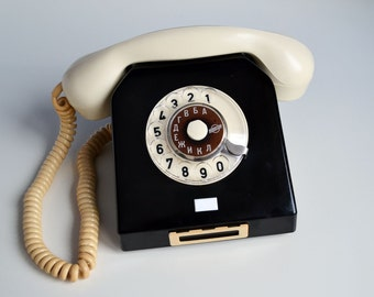 Vintage Phone Bakelite with Rotary Dial Soviet German Nordfern Working Home Retro Telephone, Vintage Home or Office decor, 60s Fashion Gift