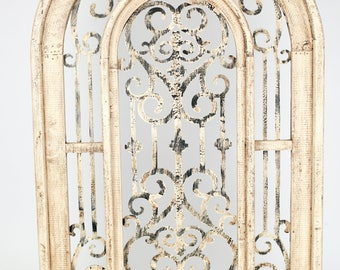 Istanbul Architectural Window -Wall-Primitive-Rustic--Wood-Garden-Patio-28x42-Antiqued White-Mediterranean and Vintage Inspired
