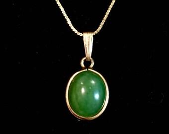 Reserved Oanh Vintage jade cabochon natural stone pendant necklace 1/20 gf designer Sorrento