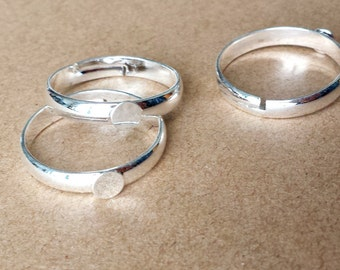 10pcs  4mm pad Silver Ring , Silver plated Brass Adjustable Rings With 4mm  Pad ring RB019