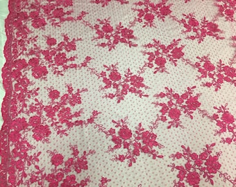 Sensational Fuchsia flowers Embroider And Corded On a Polkadot Mesh Lace-prom-nightgown-decorations-dresses-sold by the yard.