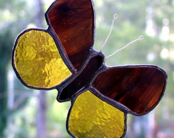 Small Butterfly in Wispy Brown and Amber, Stained Glass, Handmade in Australia