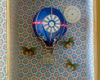 Small Painted Wooden Box with Hot Air Balloon, Swallows, Butterflies, Anchor and Old Watch Face