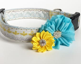 Dog collar flower, dog accessory, Pet accessory, Girl dog flower, dog flower girl, dog bow, bow for dog, Blue dog flower, Yellow dog flower