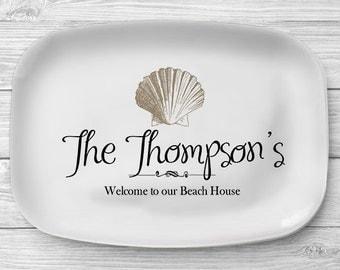Sea Shell Melamine Platter, Personalized Beach Home Serving Platter, Melamine Beach House Platter, Custom Monogram Serving Tray, Decor