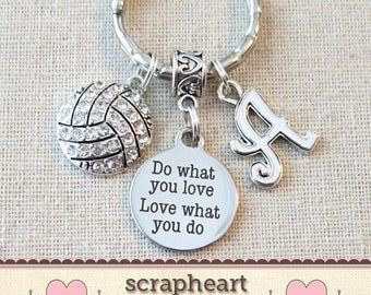 Personalized VOLLEYBALL Do What You Love - Love What You Do Keychain, SENIOR Night Volleyball Key Ring, CUSTOMIZED Volleyball Team Gifts -00