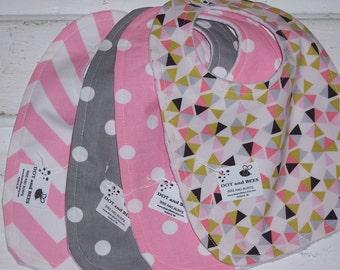 Baby Girl Pink/Grey Bib Set !  FREE SHIPPING !!!!!