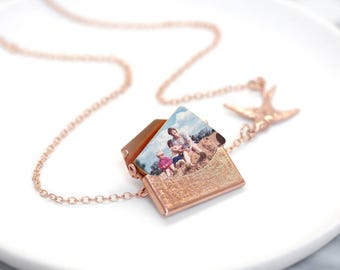 Rose Gold Photo Locket Necklace, Gift For Her, Gold Necklace, Custom Envelope Locket, Wedding Gift, Personalised Photo Love Letter Necklace